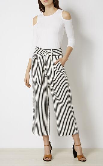 Karen Millen, STRIPED TROUSER Black & White 1