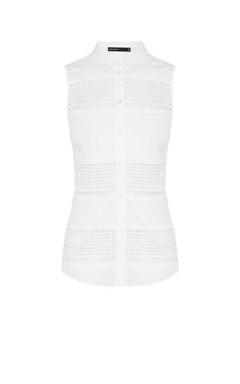 Karen Millen, Crisp cotton stretch broderie White 0