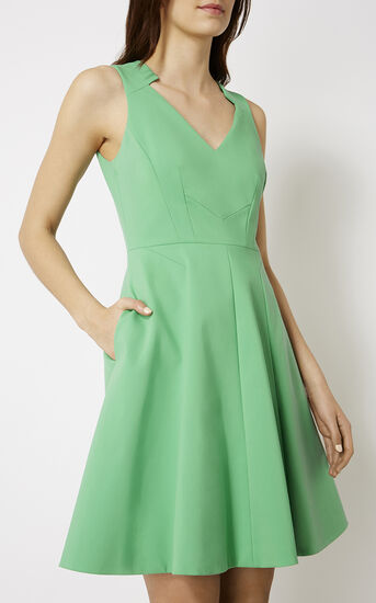 Karen Millen, GREEN COTTON DRESS Green 2