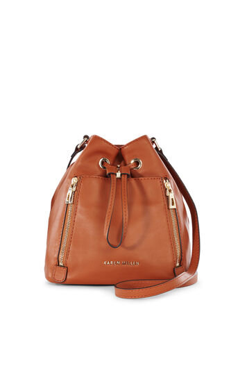 Karen Millen, ZIP BUCKET BAG Tan 0