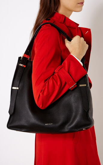Karen Millen, LARGE LEATHER SLING BAG Black 1