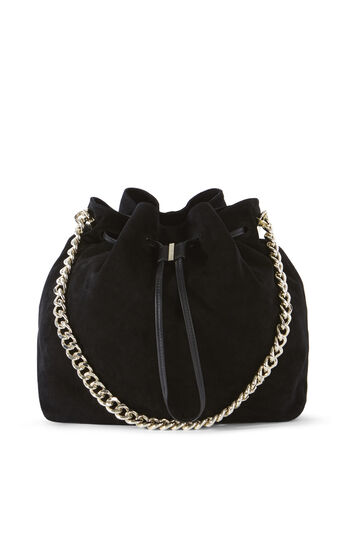 Karen Millen, SUEDE DRAWSTRING BAG Black 0