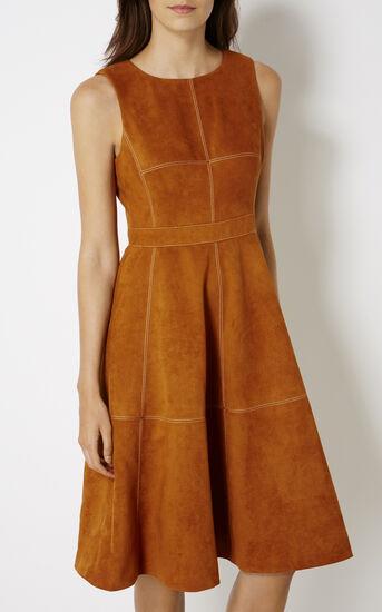 Karen Millen, SUEDE FLARED DRESS Tan 2
