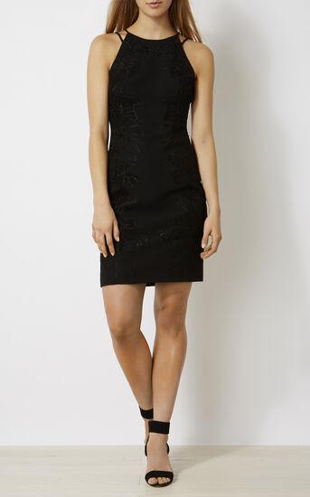 Karen Millen, FLORAL-APPLIQUÉ PENCIL DRESS Black 1