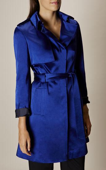 Karen Millen, SATIN MAC COAT Blue 2