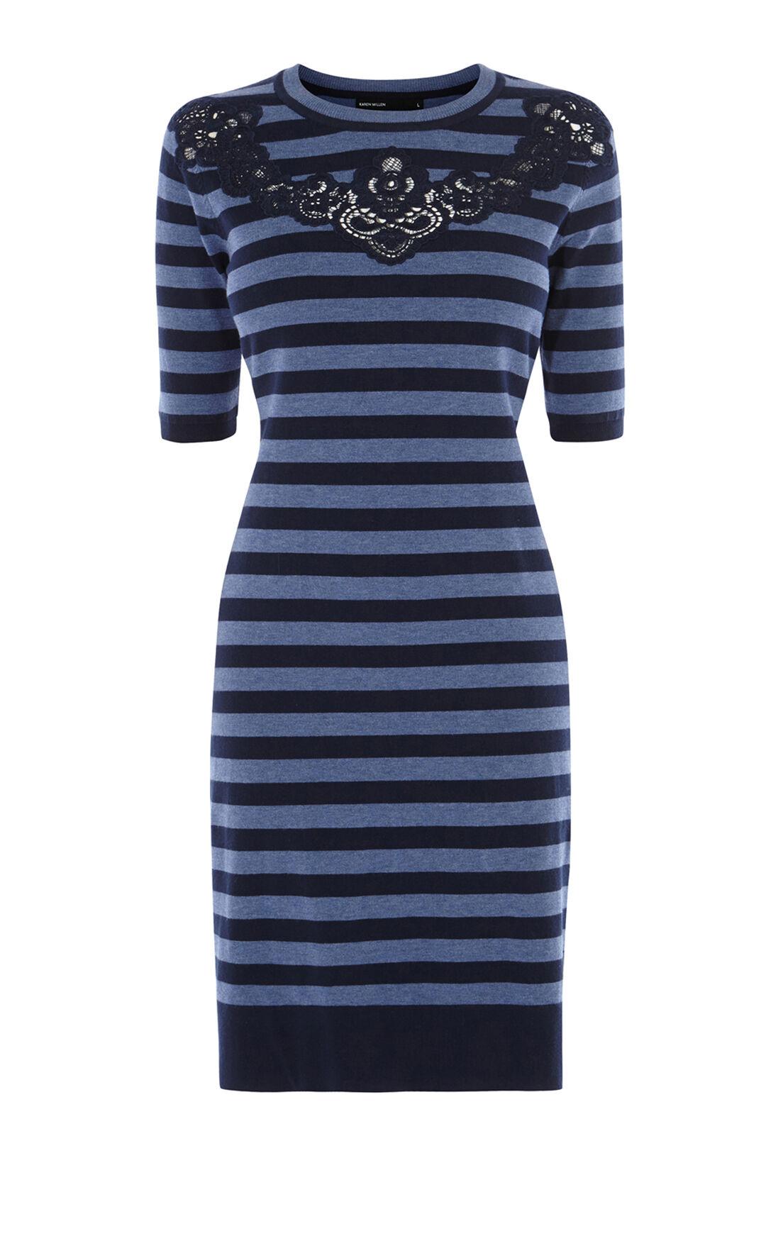 Karen Millen, KNITTED STRIPE DRESS Blue 0