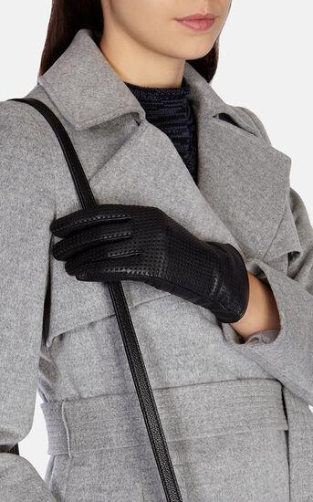 Karen Millen, Punched leather glove Black 1