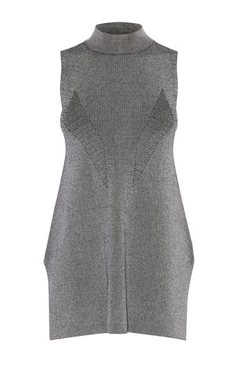 Karen Millen, CHEVRON TURTLE-NECK TOP Grey 0