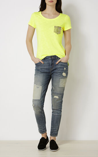 Karen Millen, STUDDED T-SHIRT Lime 1