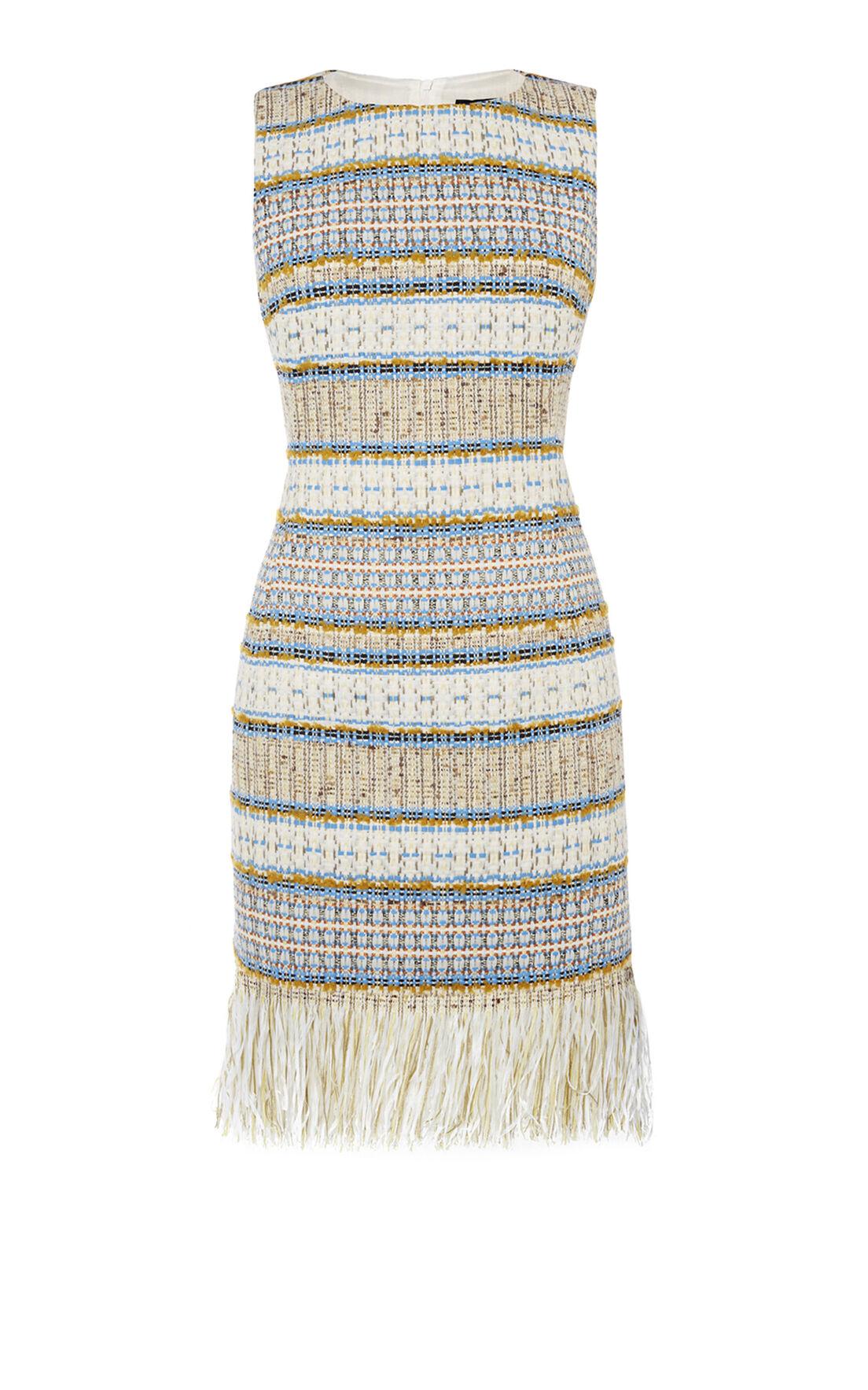 Karen Millen, FRINGED TWEED DRESS Multicolour 0