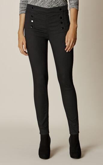Karen Millen, BLACK BUTTON LEGGINGS Black 2