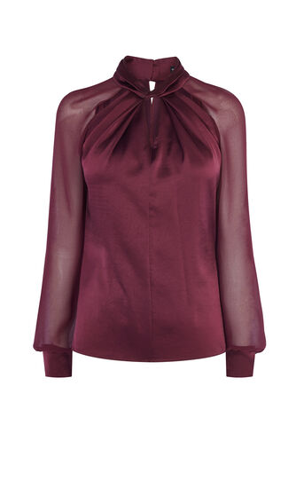 Karen Millen, KNOT-NECK TOP Dark Red 0