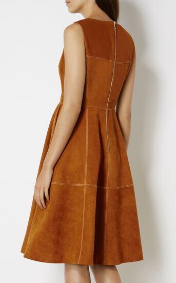 Karen Millen, SUEDE FLARED DRESS Tan 3