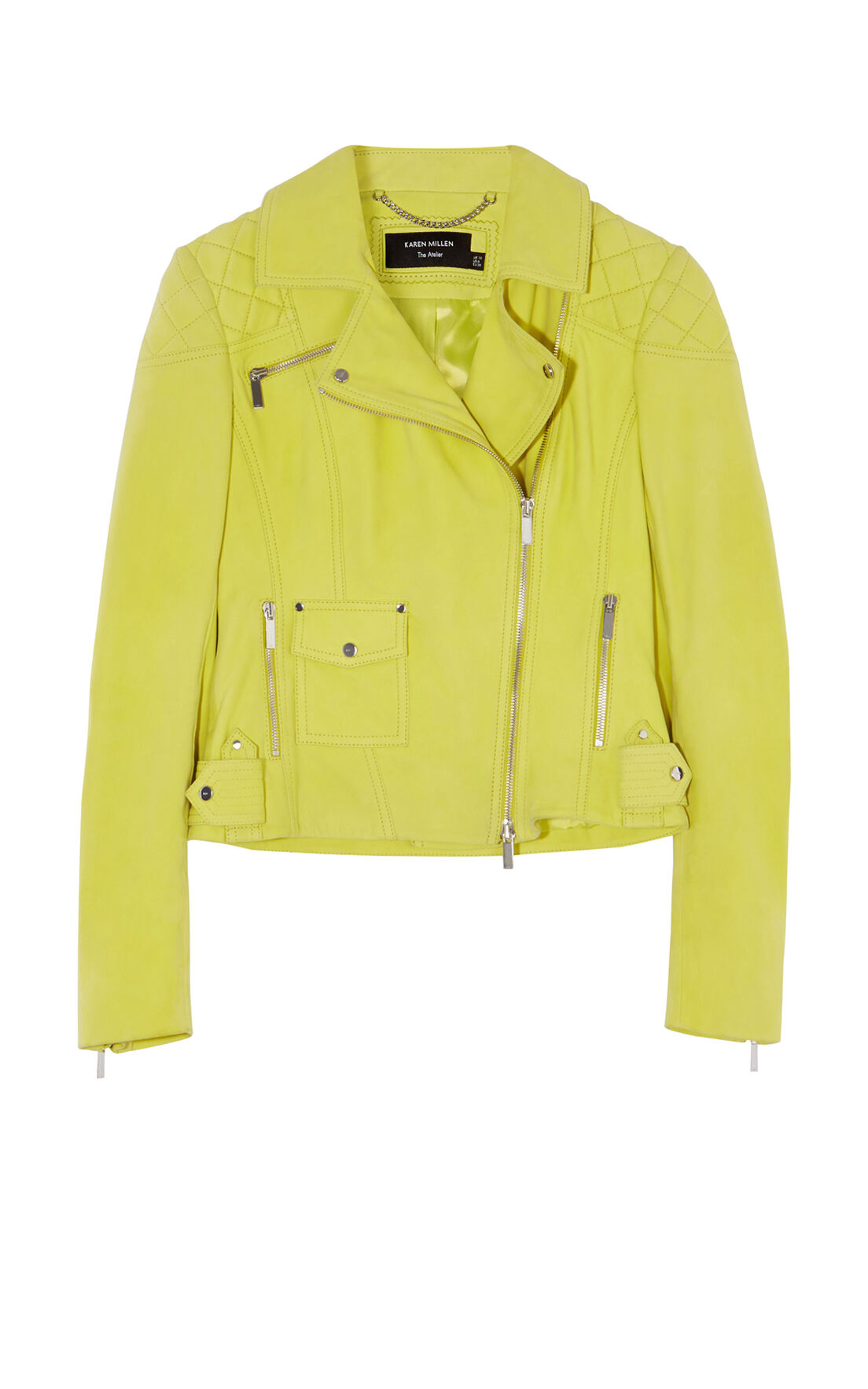 Karen Millen, YELLOW SUEDE BIKER JACKET Yellow 0