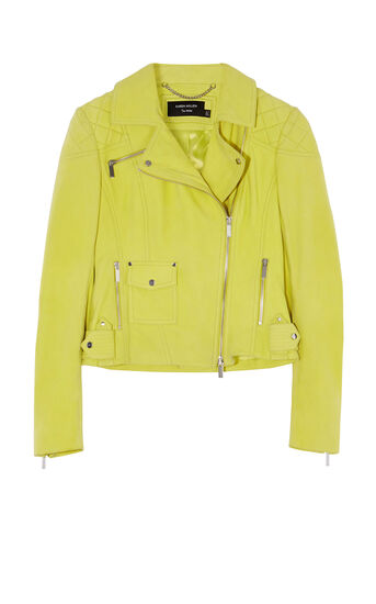 Karen Millen, YELLOW SUEDE BIKER JACKET Yellow 0