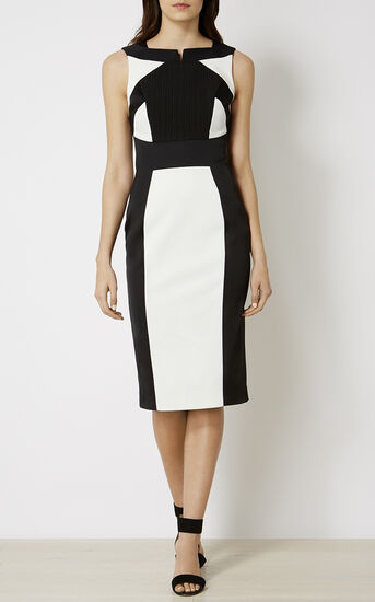 Karen Millen, MONOCHROME PENCIL DRESS Black & White 1