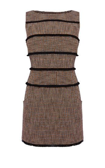 Karen Millen, FRINGED TWEED SHIFT DRESS Blk/Multi 0