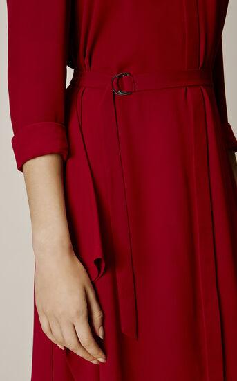 Karen Millen, ASYMMETRIC SHIRT DRESS Dark Red 4