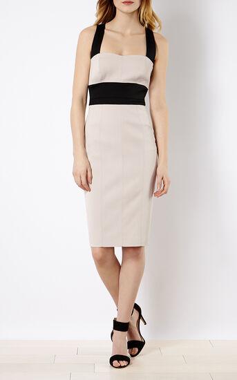 Karen Millen, CROSS-OVER STRAP DRESS Nude 1