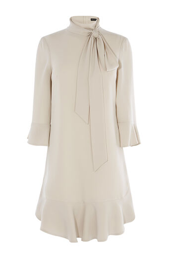 Karen Millen, INGENUE RUFFLE DRESS Stone 0