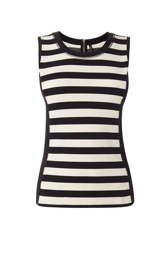 Karen Millen, STRIPED SLEEVELESS VEST Black & Ivory 0