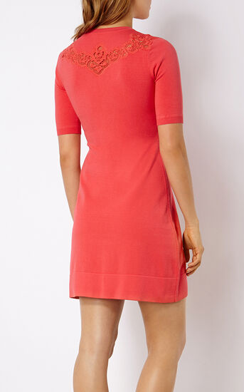 Karen Millen, LACE DETAIL KNIT DRESS Pink 3