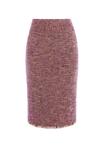 Karen Millen, FRINGED TWEED SKIRT Pink/Multi 0