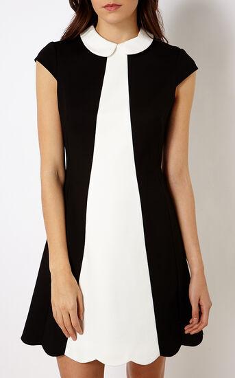 Karen Millen, SCALLOPED MINI DRESS Blk & Ivry 2