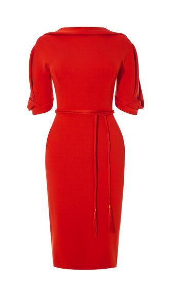 Karen Millen, STATEMENT SLEEVE DRESS Dark Red 0