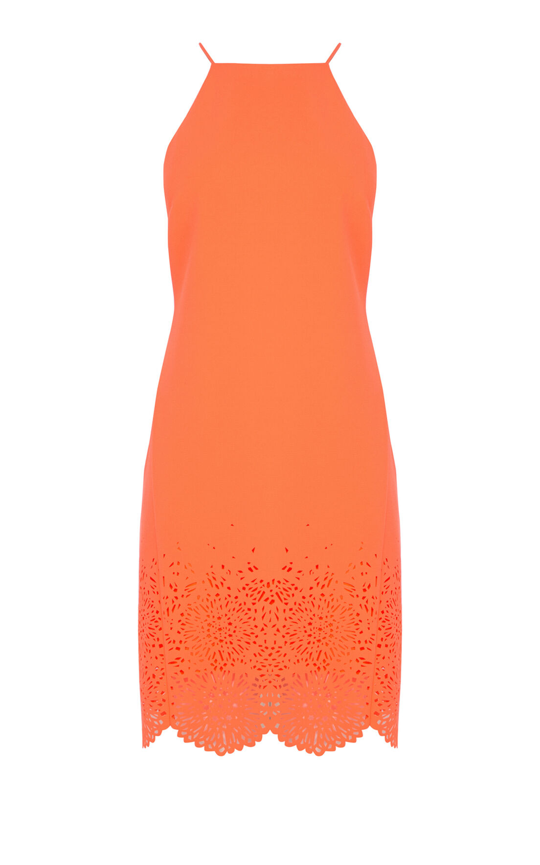 Karen Millen, Laser cut neon crepe dress Coral 0