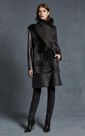 Karen Millen, BLACK SHEARLING COAT Black 1