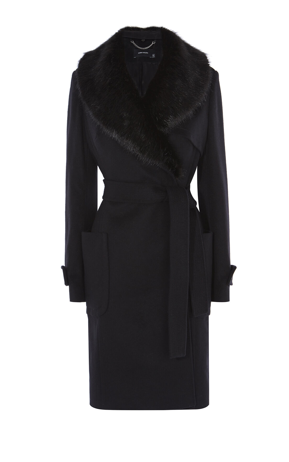 Karen Millen, FAUX-FUR COLLAR COAT Black 0