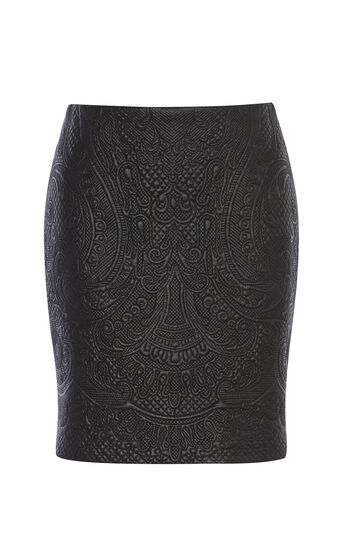 Karen Millen, FAUX-LEATHER EMBROIDERED SKIRT Black 0