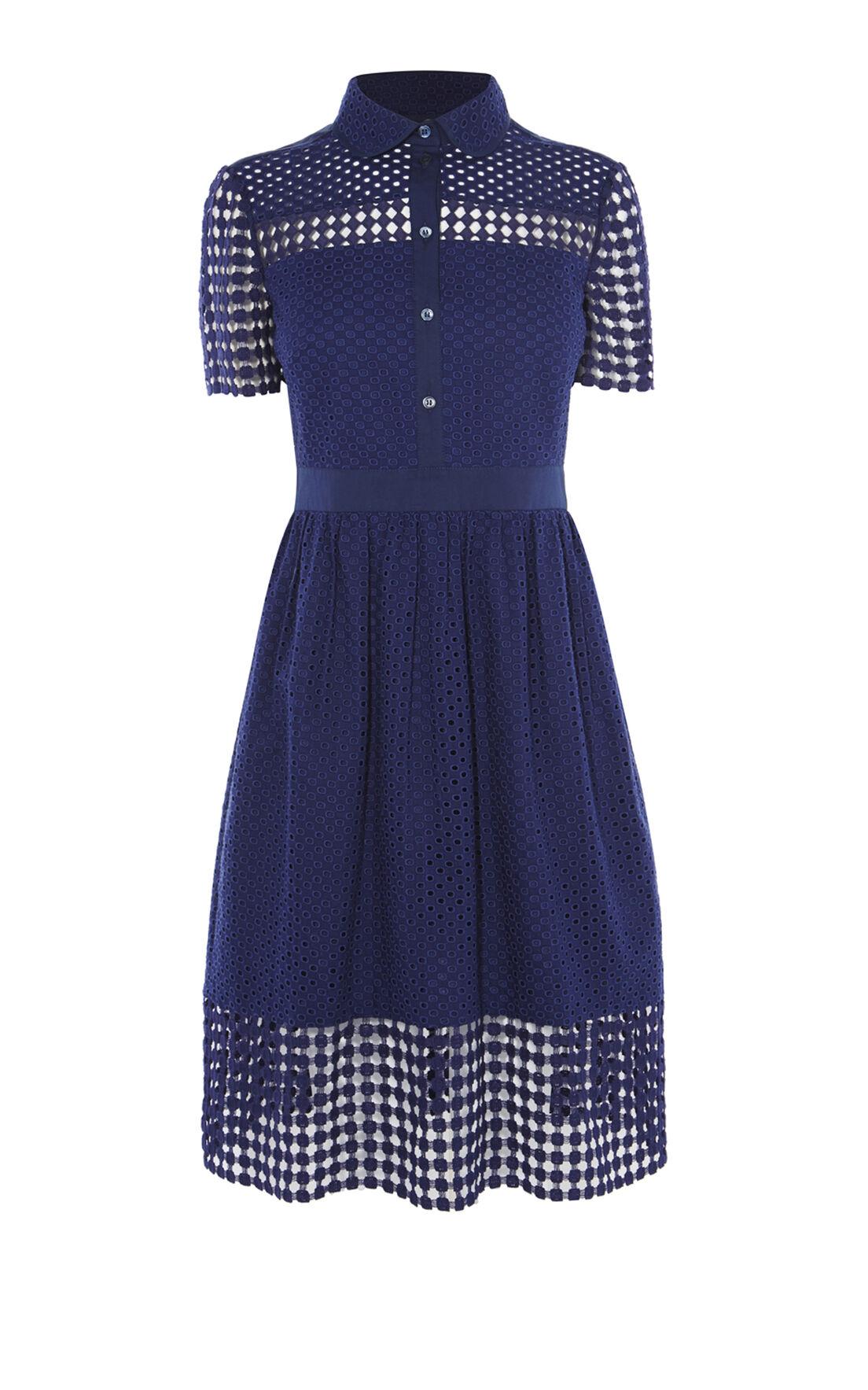 Karen Millen, BRODERIE DRESS Blue 0