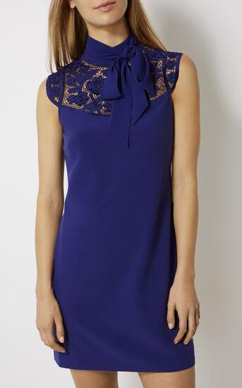 Karen Millen, FLORAL HIGH-NECK MINIDRESS Purple 2