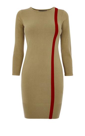 Karen Millen, STRIPED KNIT DRESS Camel 0