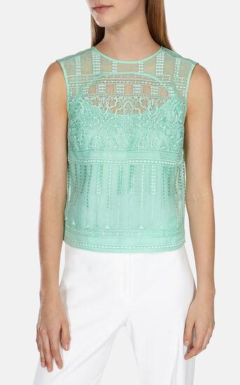 Karen Millen, Lace embroidery organza top Green 2