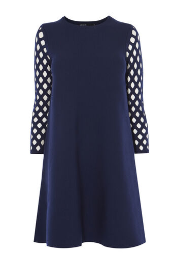 Karen Millen, LATTICE-SLEEVE DRESS Navy 0