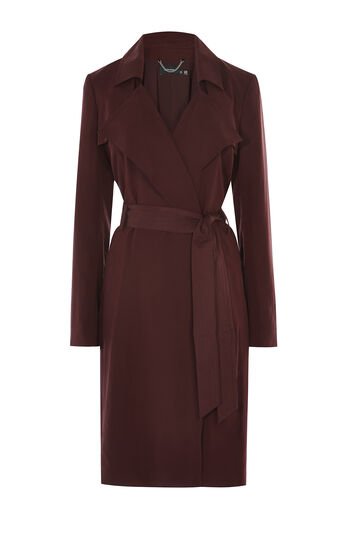 Karen Millen, BORDEAUX TRENCH COAT Dark Red 0