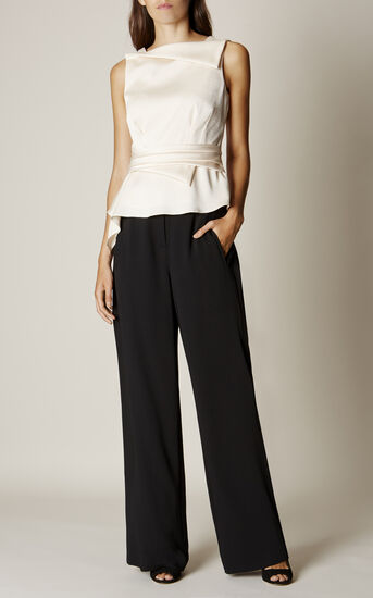 Karen Millen, WIDE-LEG TROUSERS Black 1