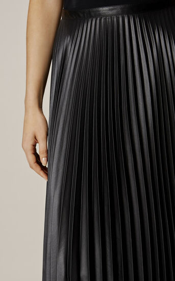 Karen Millen, WETLOOK PLEAT MAXI SKIRT Black 4