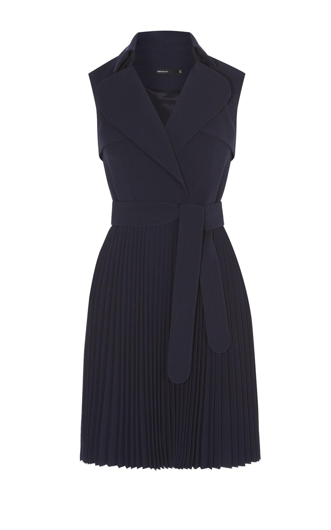 Karen Millen, PLEATED TRENCH DRESS Navy 0