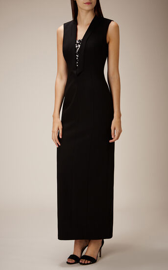 Karen Millen, TUXEDO MAXI DRESS Blk & Ivry 1