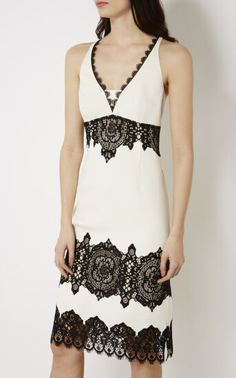 Karen Millen, LACE CREPE DRESS White/Multi 2