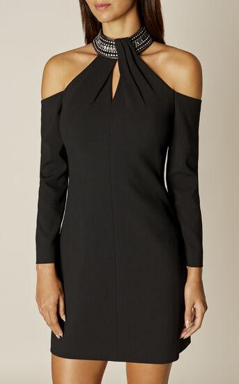 Karen Millen, JEWELLED NECKLINE DRESS Black 2