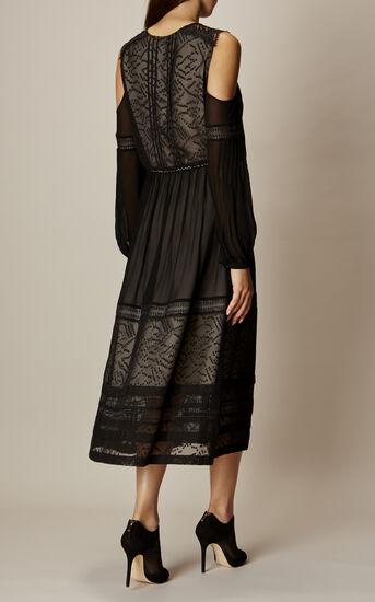 Karen Millen, BLACK MESH COLD-SHOULDER DRESS Black 3