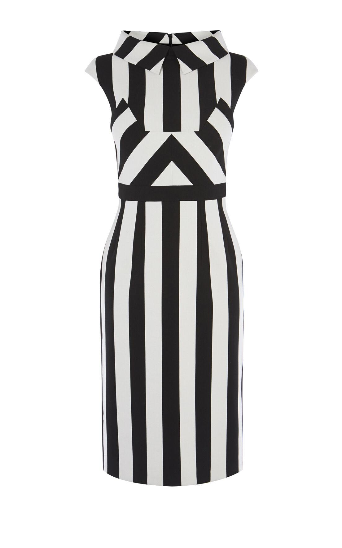 Karen Millen, MULTI-STRIPE DRESS Black & White 0