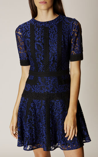 Karen Millen, LACE PANEL DRESS Blue/Multi 2