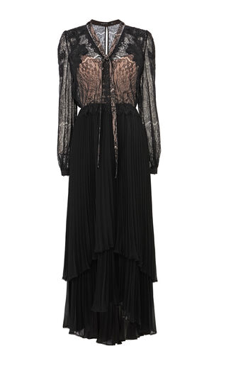 Karen Millen, EMBROIDERED PLEATED MAXI DRES Black 0