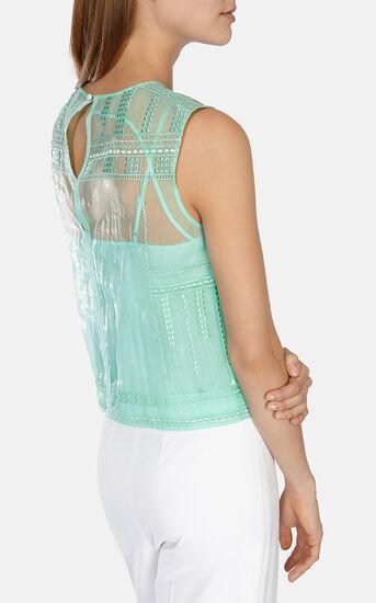 Karen Millen, Lace embroidery organza top Green 3